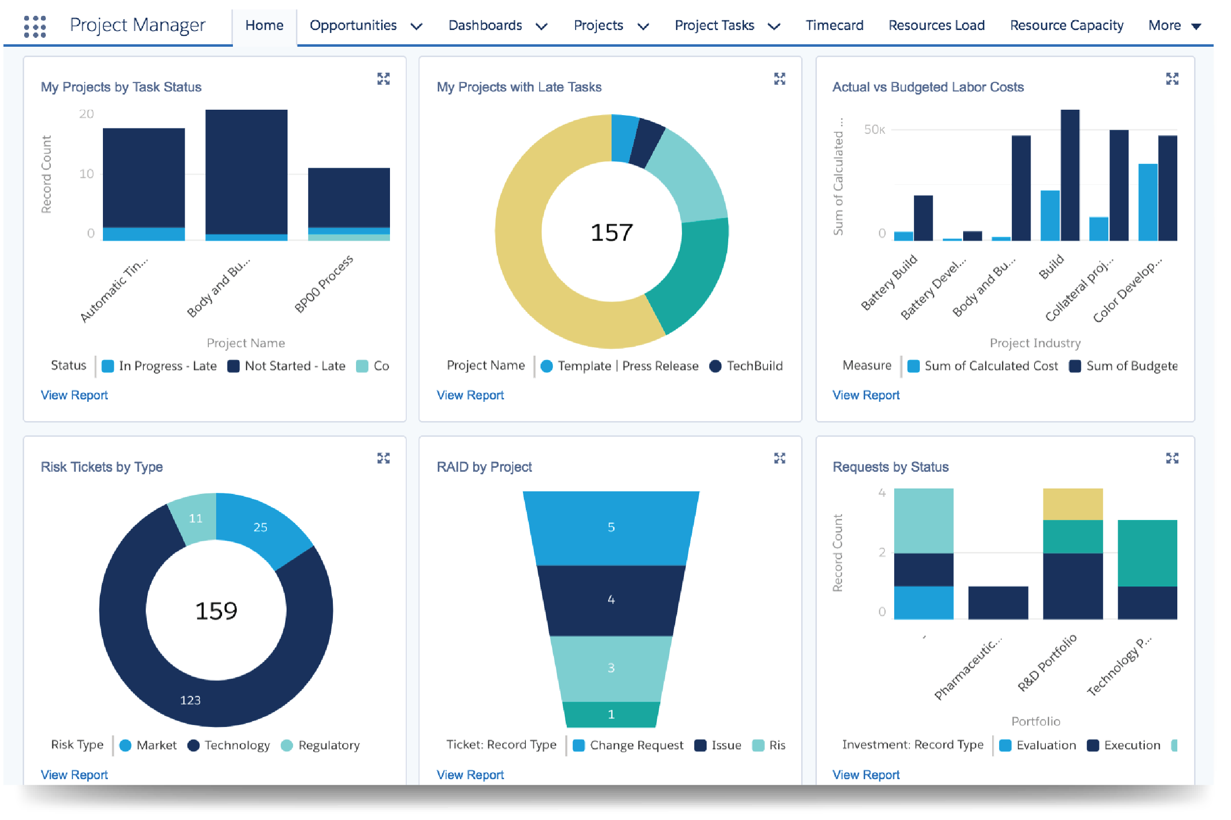 customized project management dashboards