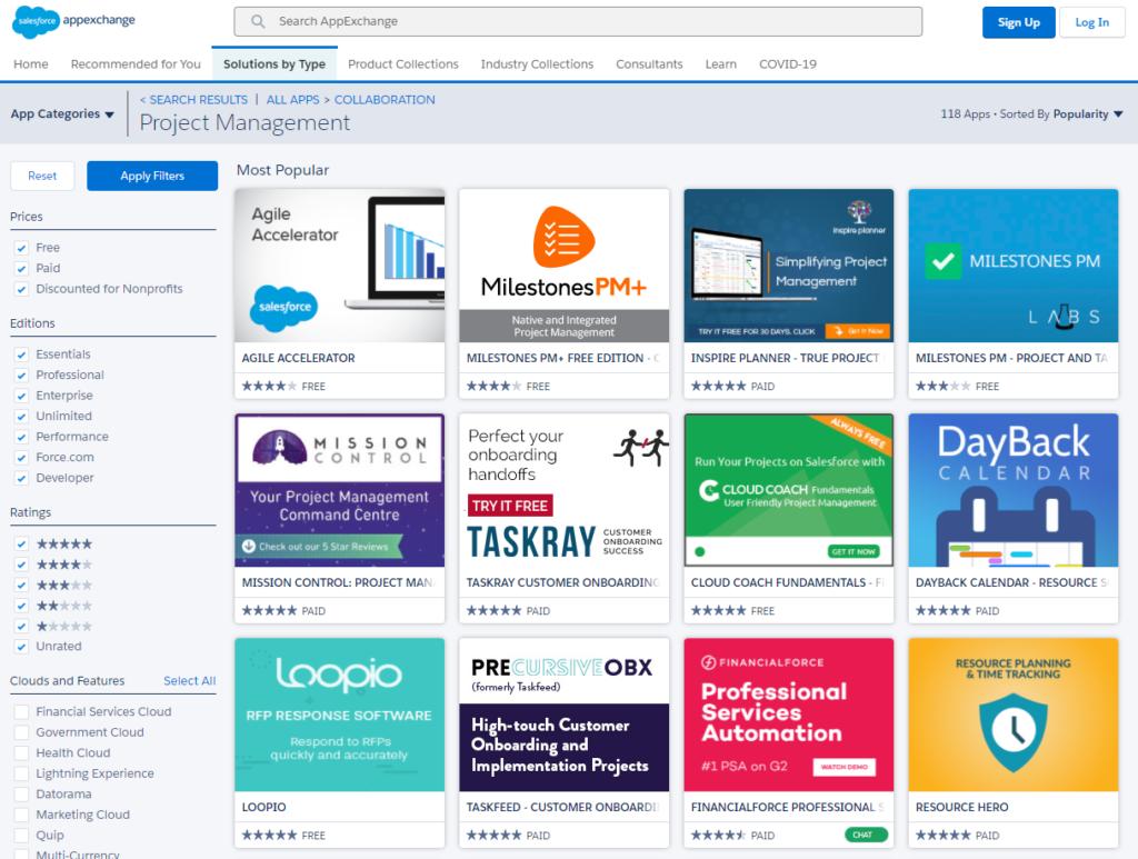 Appexchange project management apps