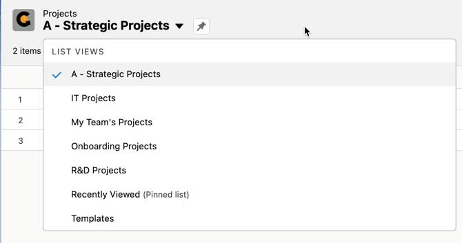 projects list view picklist